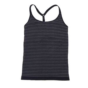 Athleta Uptempo Black and Gray Striped Tank Top
